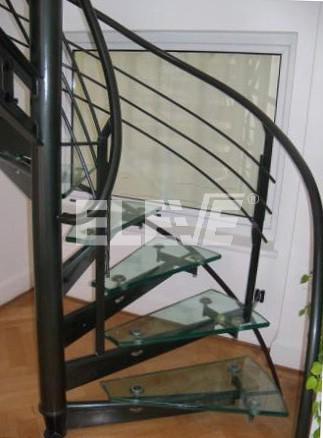 Escalera caracol de vidrio barandas y pasamanos en hierro - Pasamanos de cristal para escaleras ...