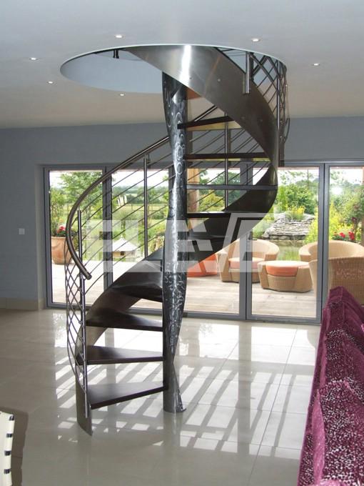 Escalera de doble cinta helicoidal con curva espiral - Escalera en espiral ...