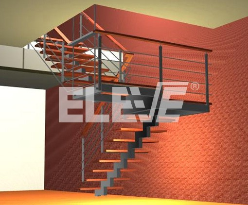 Escalera de dos tramos en u colgada por dos tensores en for Escaleras de madera de dos tramos