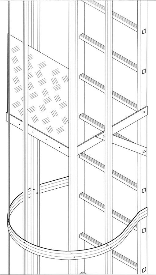 Puerta plataforma intermedia en escalera gato vertical - Normativa barandillas exteriores ...
