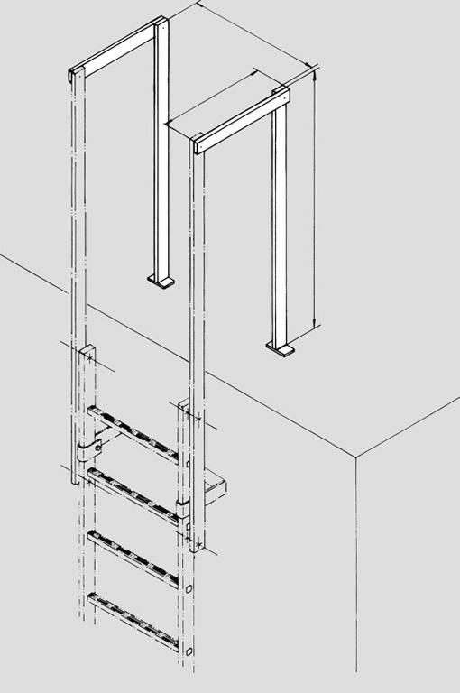 Baranda de llegada a terraza en escalera vertical tipo gato - Escalera de gato con proteccion ...
