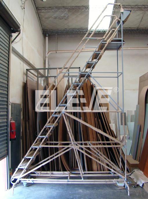 Escalera tipo burro m vil para almacen fabricada en ca os - Escaleras para almacen ...