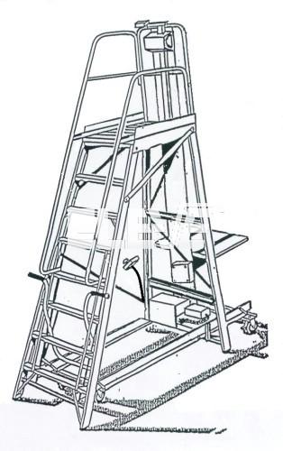 Escalera de almacen con cuatro ruedas y patas fijas de - Escaleras para almacen ...
