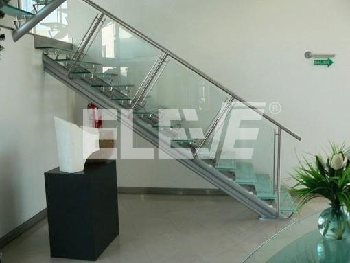 Escalera en u doble eje en hierro escalera en pilar - Escaleras con cristal ...