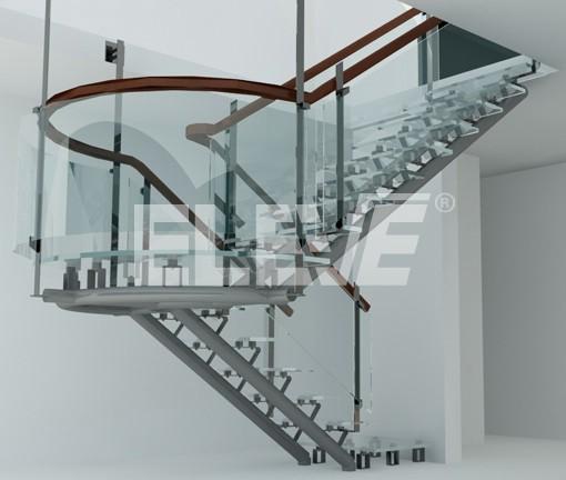 Render de escalera en u pelda os de vidrio for Escaleras en u