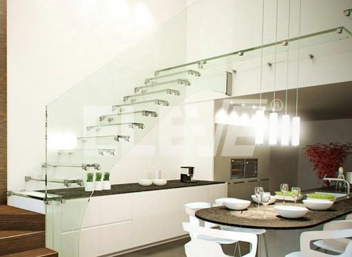 Escalera tipo recta dise o con puente de vidrio laminado - Escaleras con cristal ...