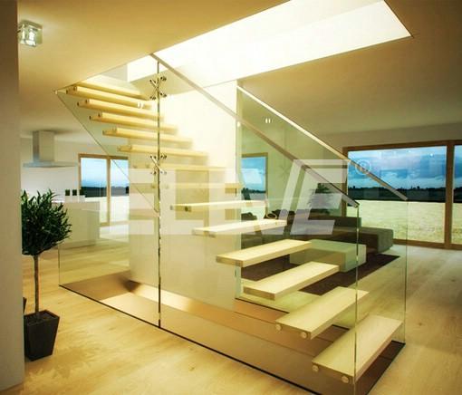 Render de dise o de escalera especial de vidrio estructural - Escaleras de cristal y madera ...