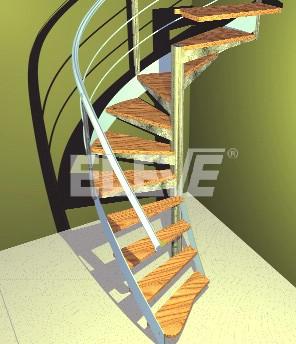 imagen renderizada de escalera interior de caracol con cinta helicoidal ue