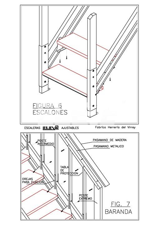 Detalle De Armado De Escalera Ajustable Baranda Y