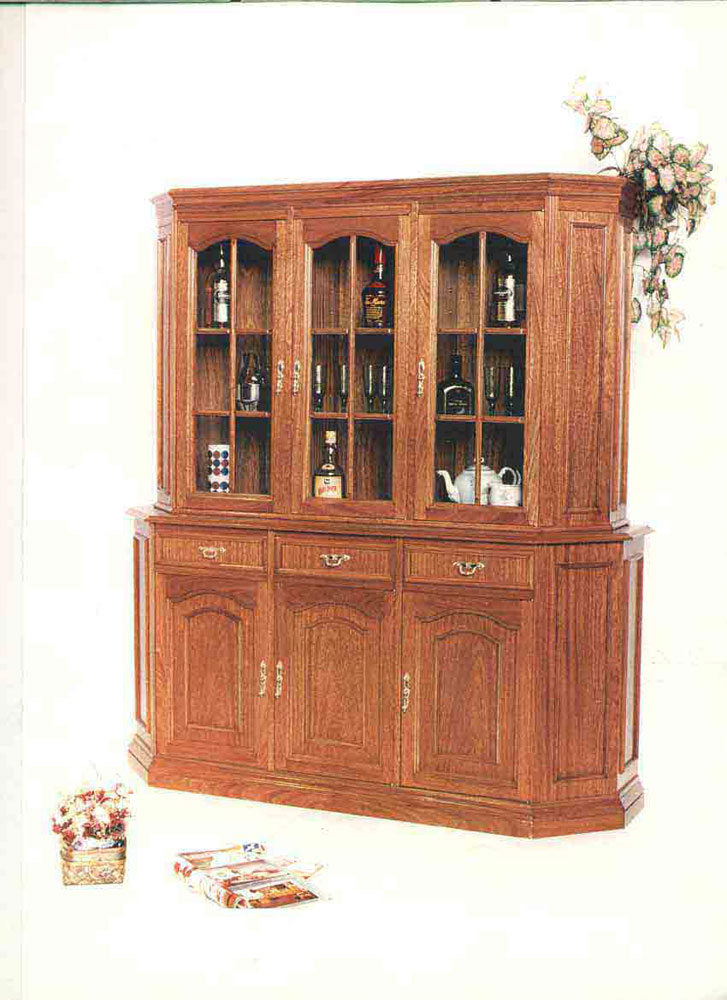 Muebles de estilo en madera cerejeira cristalero mesa y for Estilos de muebles de madera