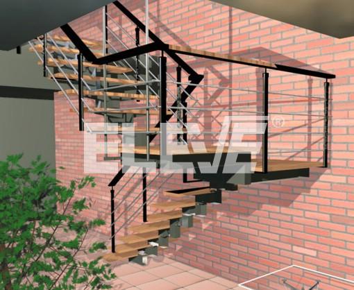 Escalera recta en dos tramos sin columnas colgada por dos tensores - Escalera dos tramos ...