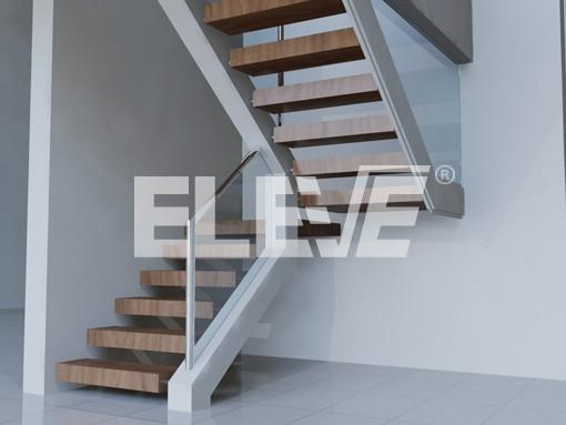 Escalera con pelda os revestidos en madera y barandas de vidrio templado - Escaleras con peldanos de madera ...